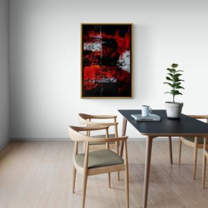 Composition in Red on Black Abstract Designs